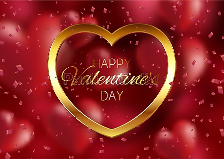 valentines day background with gold heart