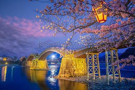 kintaikyo bridge in iwakuni japan at