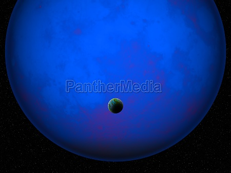 3d fictional space scene with earth