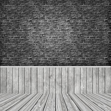3d room interior with grunge brick