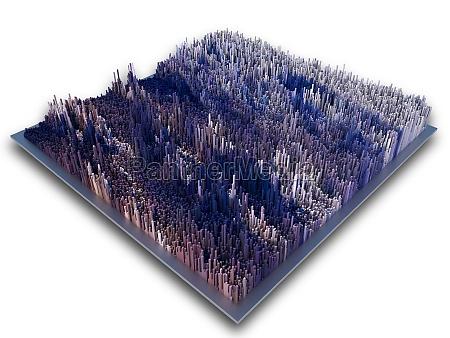 3d isometric futuristic landscape of extruding