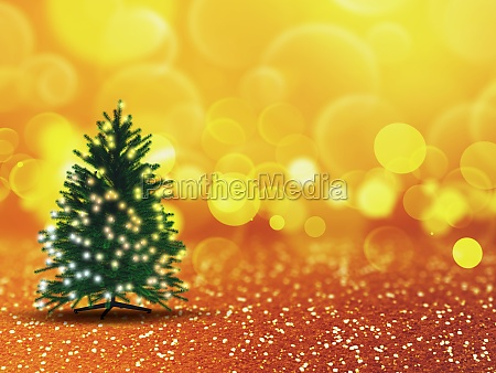 3d christmas tree with lights on