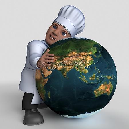3d cartoon baker character