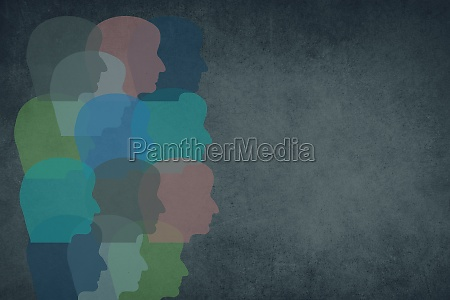 silhouettes of faces in different colours