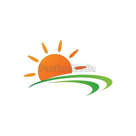 sun farm logo vector icon design