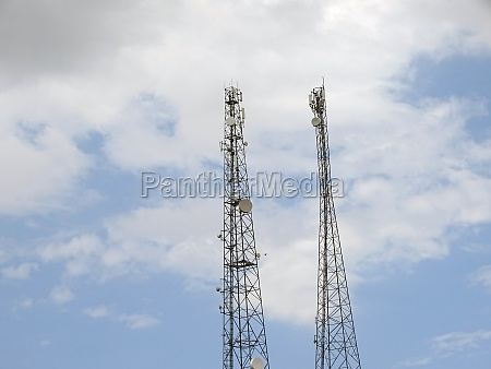 cloudy sky and telephone base station