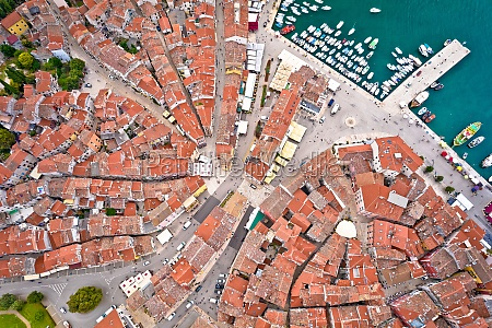 rovinj rooftops and harbor aerial view