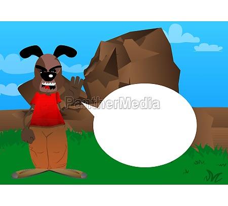 funny cartoon dog with waving hand