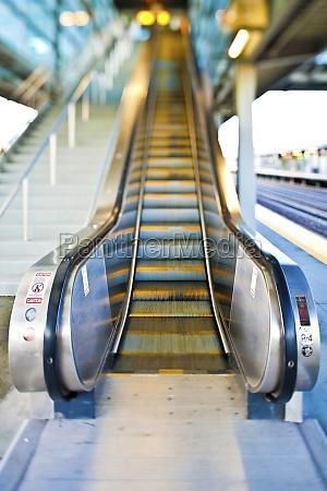 escalator on railway station platform