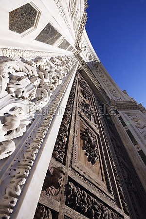 low angle view of ornate carved