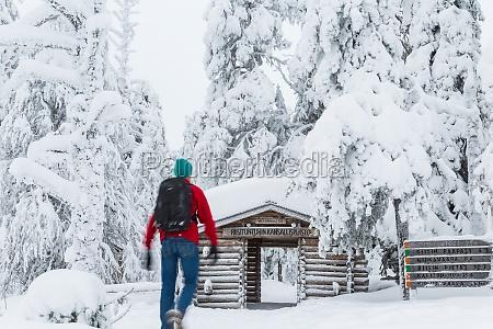 entrance to riisitunturi national park winter