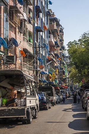 busy street in downtown yangon myanmar