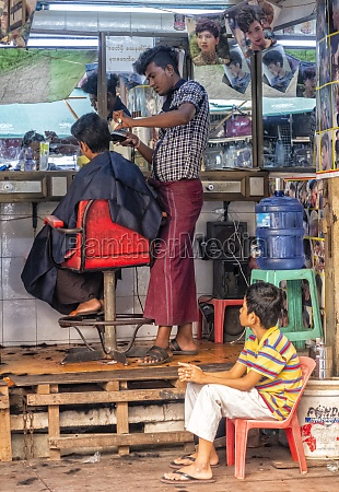 busy hairdressers in yangon myanmar