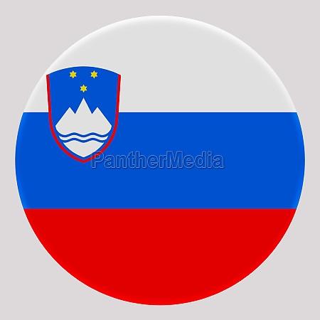 3d flag of slovenia on circle