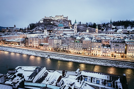salzburg old city and rooftops at