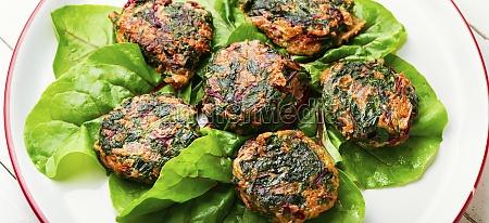 healthy herb vegetarian cutlets top view