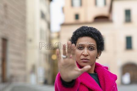 italy tuscany pistoia woman making stop