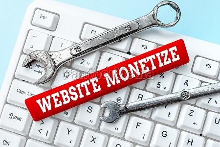 handwriting text website monetize business concept