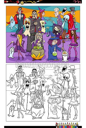 cartoon spooky halloween characters group coloring