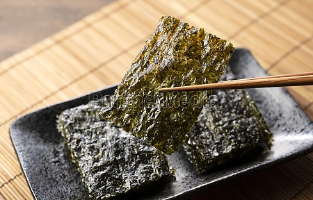 korean seaweed on a wooden table
