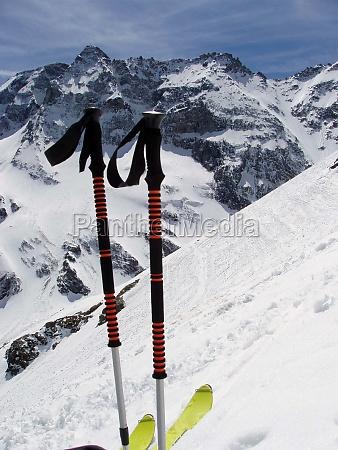 ski tour on snowy mountain in