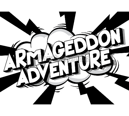 armageddon adventure comic book style text