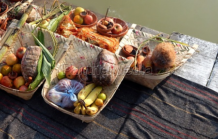 view of indian woman food offerings