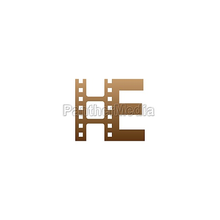 letter e with film strip icon