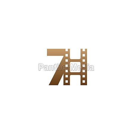 number 7 with film strip icon