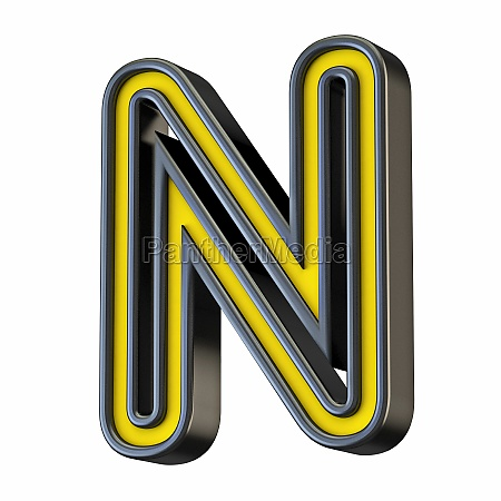yellow black outlined font letter n