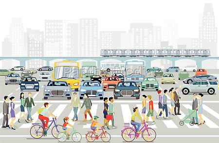 big city with pedestrians on the