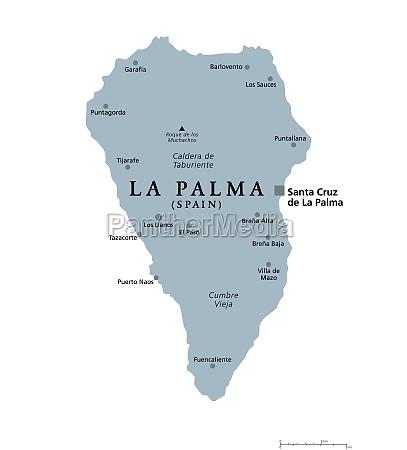 la palma island gray political map