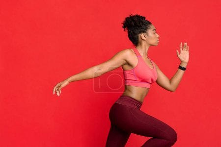 sport competition red background studio girl