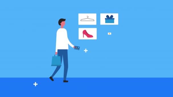 graphic illustration set shopping consumerism retail