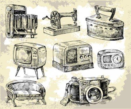 vector illustration design set shop antique
