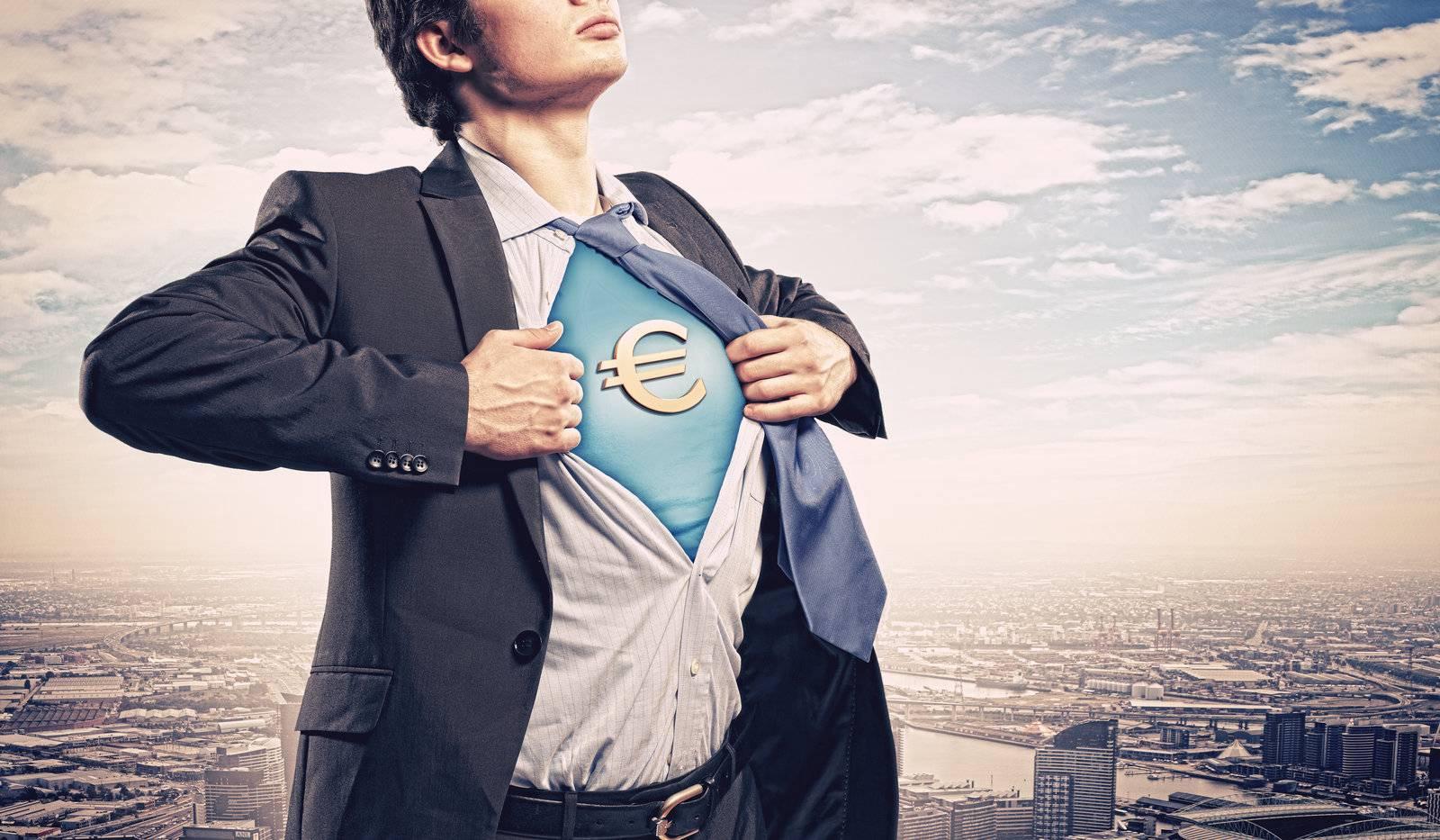 business, businessman, superman, euro, currency, finance - D8016916