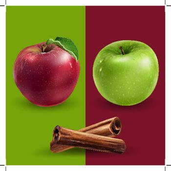 cinnamon apple green red vector advertising
