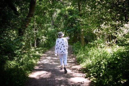 green, path, female, summer, nature, health - B384752714