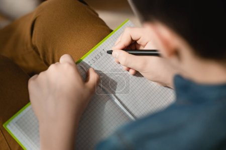 child boy kid home notebook writing