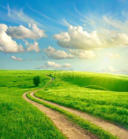 green, white, blue, sky, beautiful, bright - B4117987