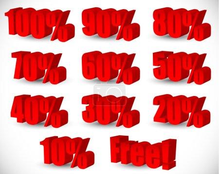 red, number, perspective, illustration, set, discount - B68187699