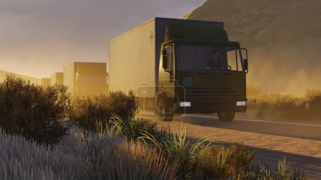 transport, vehicle, mountain, car, road, sunset - B76488387