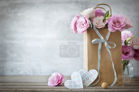 table blue background paper bag gift